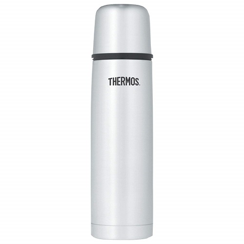 Image of a Thermos vacuum insulated 16 oz compact stainless steel beverage bottle.