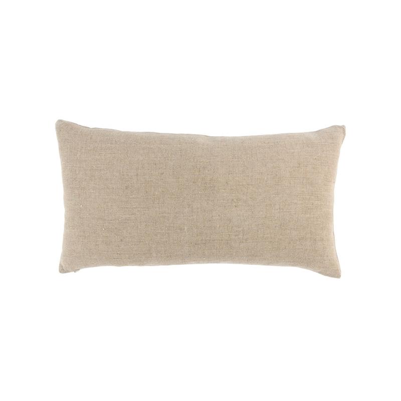 brown linen and leather lumbar pillow