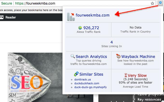 Alexa Traffic Rank chrome extension