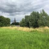 groen veld met kerk in achtergrond