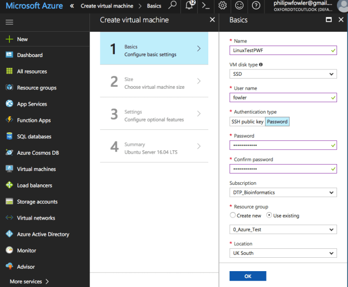 A way of using Azure in computer-based practicals – Fowler Lab