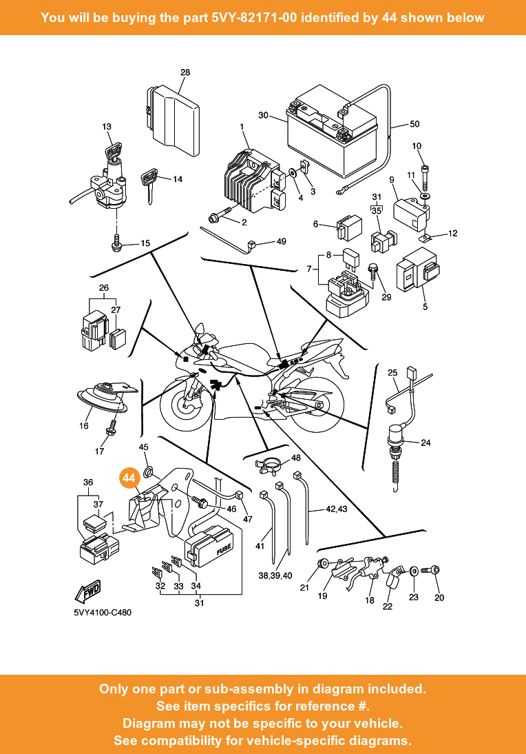 medium resolution of  44 on diagram only compatible with other bikes parts