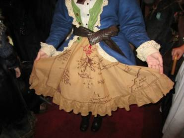 This lady had the most spectacular hand embroidered Middle Earth map skirt.
