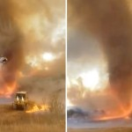 Fire whirl caught on video as crews battle Southern California fire 💥👩👩💥