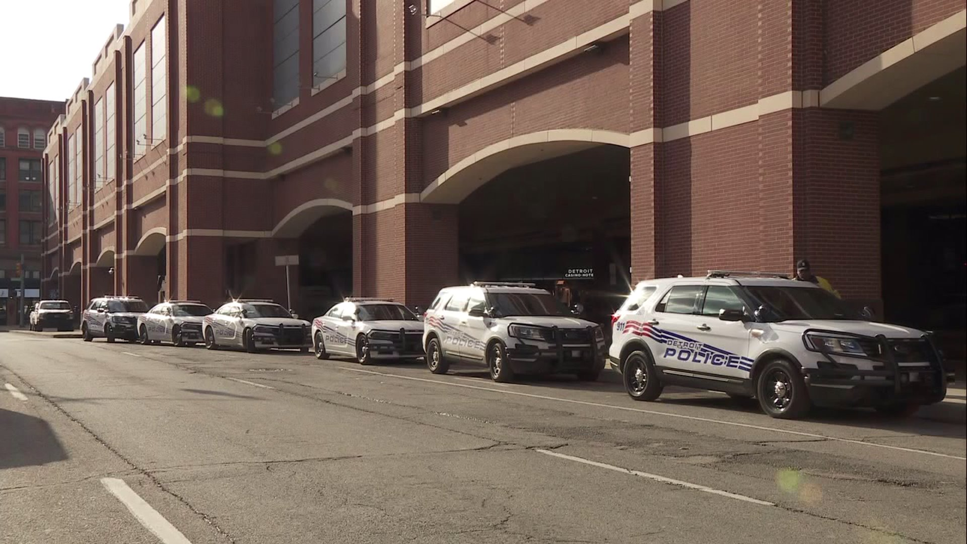 Police cars outside the Greektown Casino.
