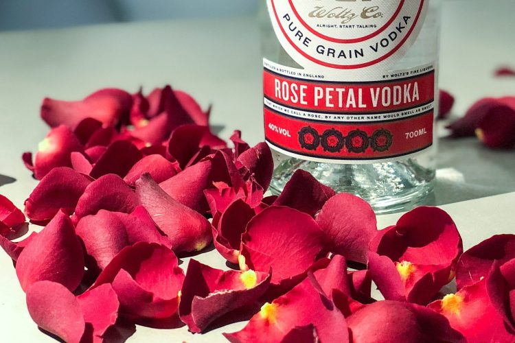 Rose vodka and rose petals