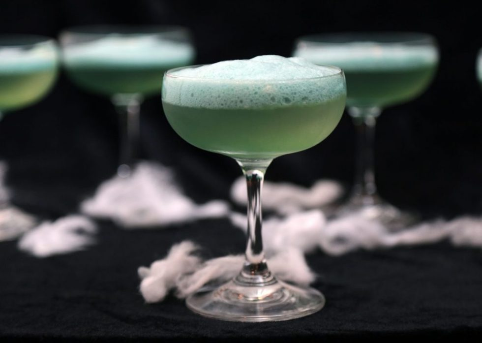 Corpse Reviver with absinthe foam - halloween cocktail