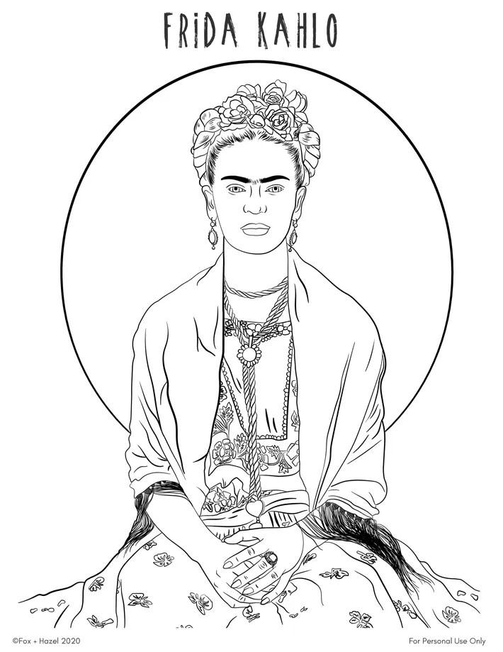 Frida Kahlo Coloring Pages : frida, kahlo, coloring, pages, Frida, Kahlo, Printable, Coloring, Hazel