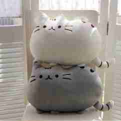 Cute Living Room Curtains How To Decorate My With A Sectional Pusheen Cat Plush Cushion - White | Fox And Monocle