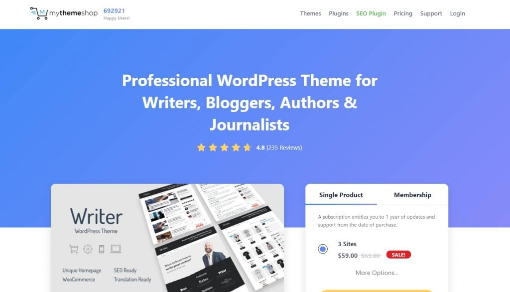 Writer theme - SEO friendly themes for Writers