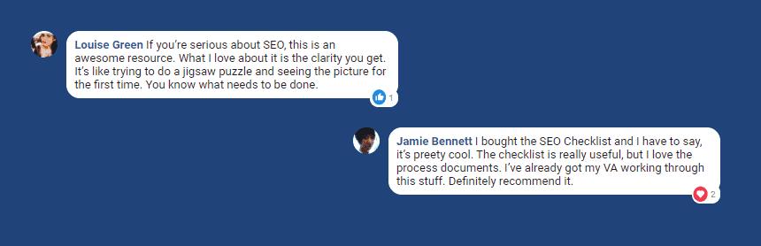 Users testimonials on SEO checklist product