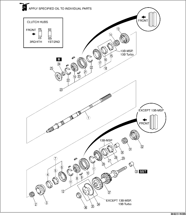 MAINSHAFT AND COUNTER SHAFT COMPONENTS ASSEMBLY