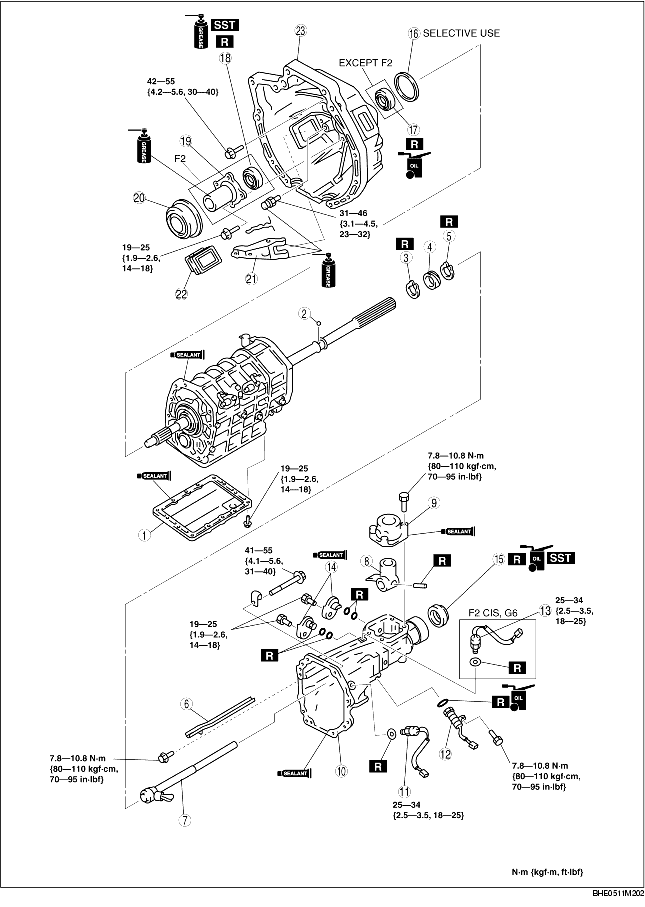 CLUTCH HOUSING AND EXTENSION HOUSING ASSEMBLY