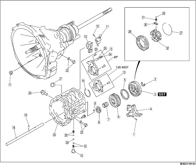 TRANSMISSION CASE AND 6TH GEAR COMPONENT DISASSEMBLY