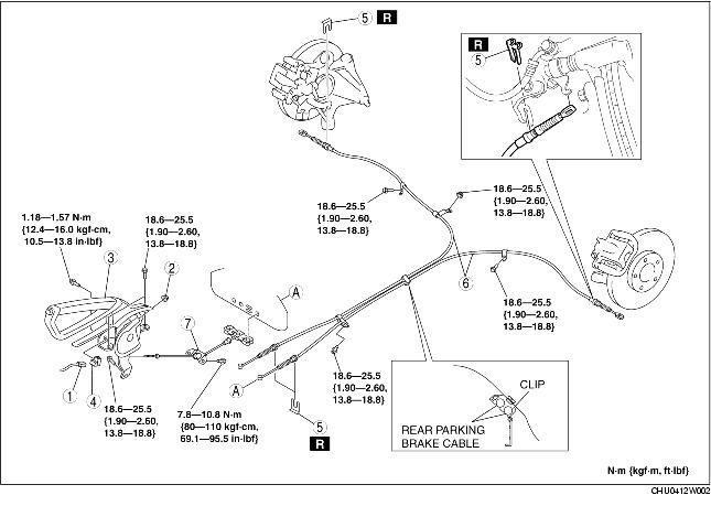 PARKING BRAKE LEVER REMOVAL/INSTALLATION