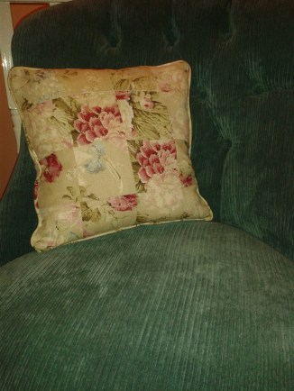 Curtain leftovers patchwork cushion
