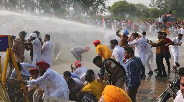 Indian youth Congress water cannoned by haryana Police