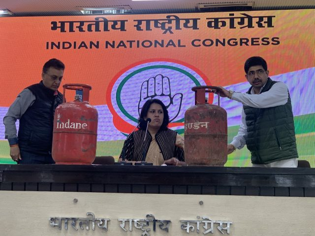 LPG Price hikes: Congress holds presses with cylinders on table