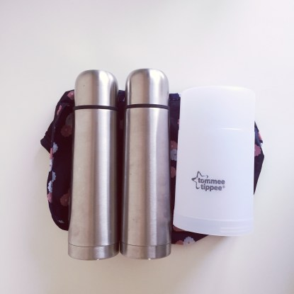 Two flasks: one with boiling water and one with cooled boiled water