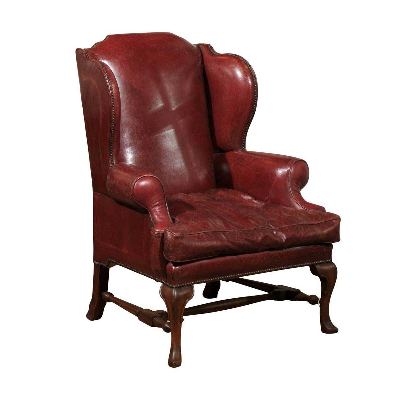 red leather wingback chair pedicure chairs package deals late 19th century english foxglove
