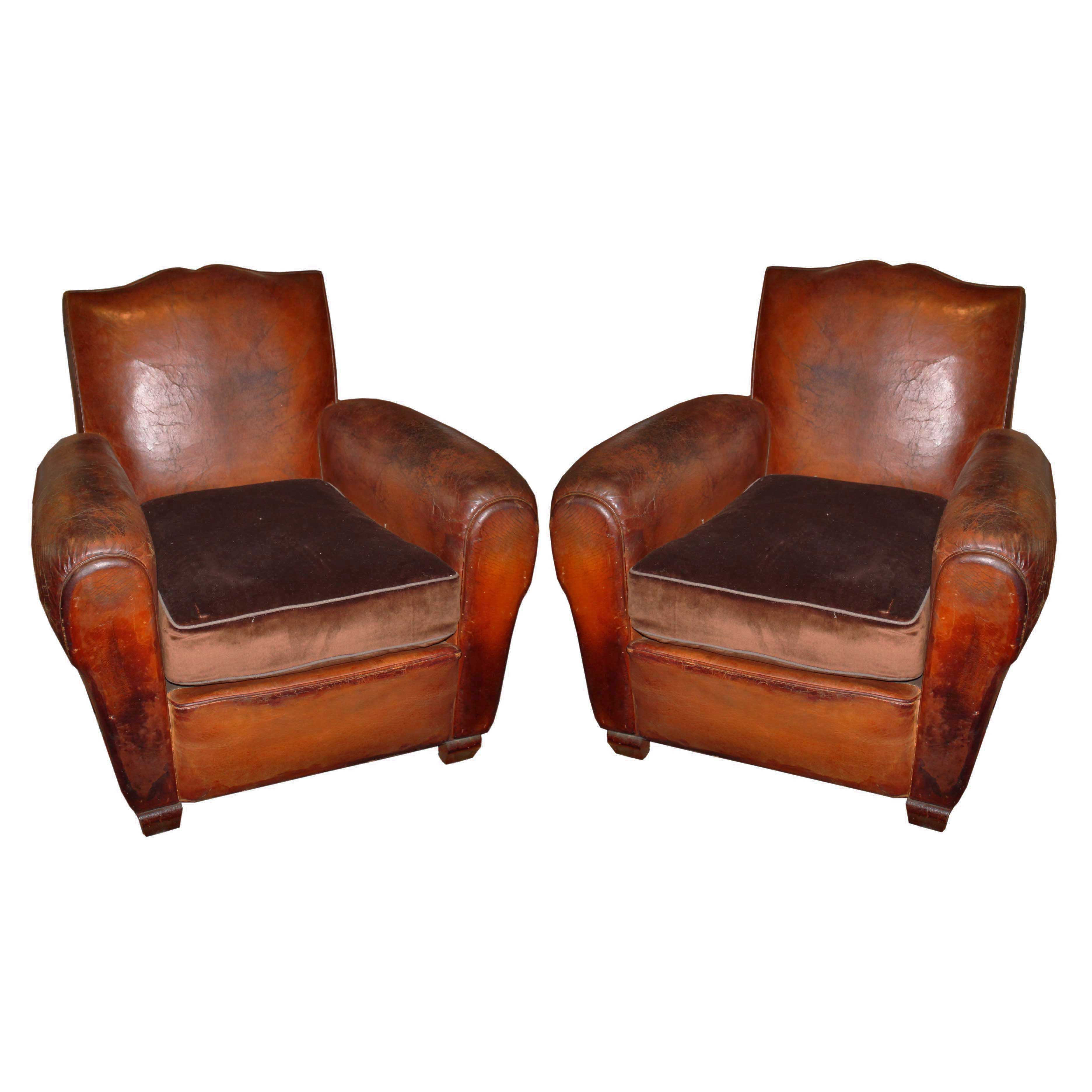 Pair French Leather Club Chairs  Foxglove Antiques
