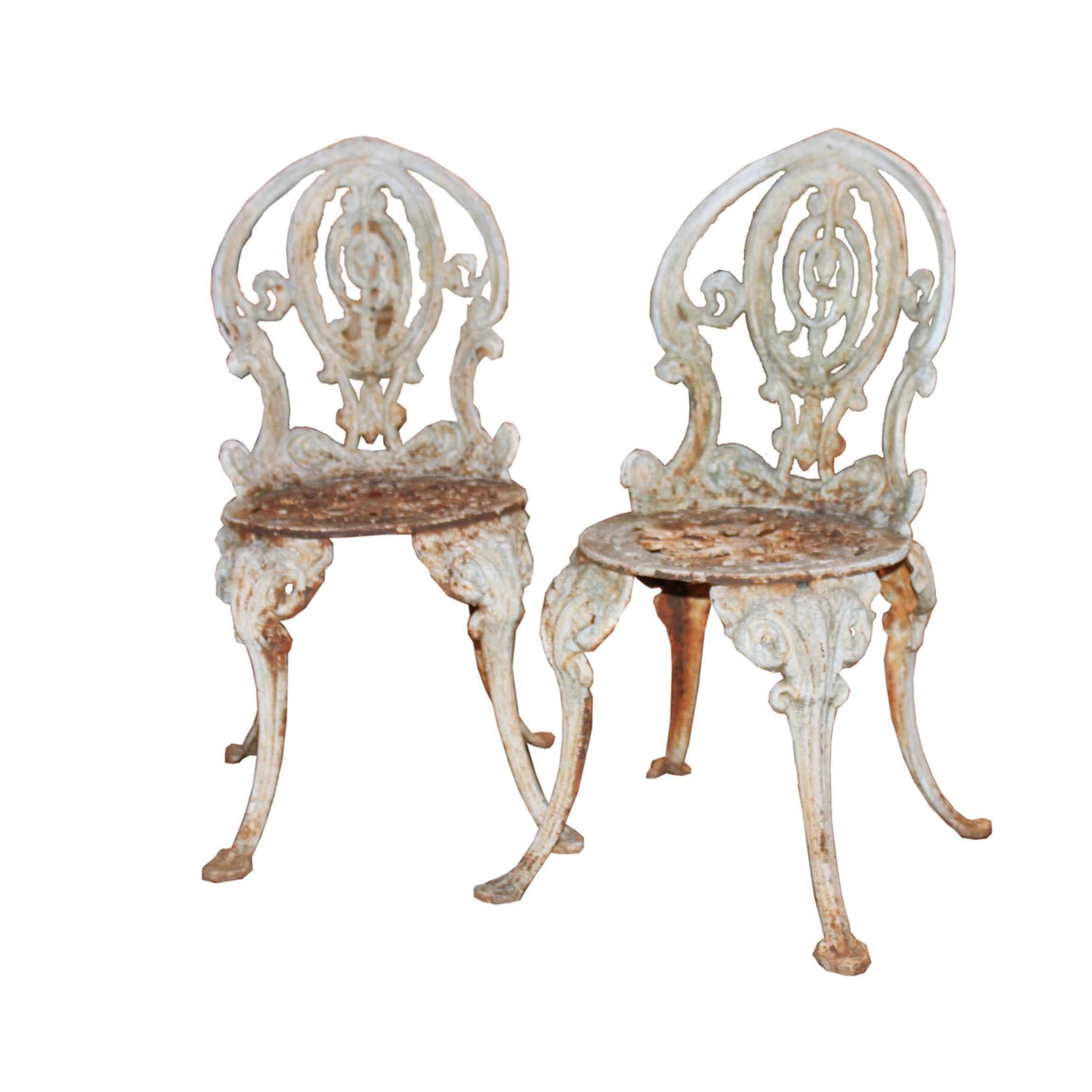 cast iron outdoor chairs counter height kitchen pair of garden foxglove antiques