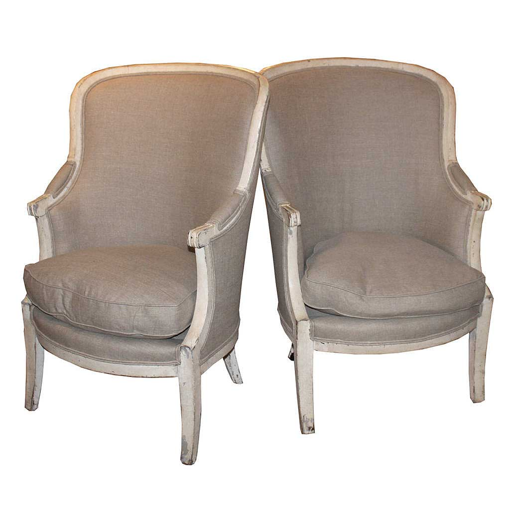 Pair Of French 19th Century Barrel Back Upholstered Wing Chairs With Saber Legs Foxglove Antiques Galleries