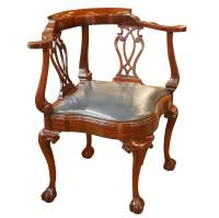 Vintage Mahogany Corner Chair with Leather Seat - Foxglove ...