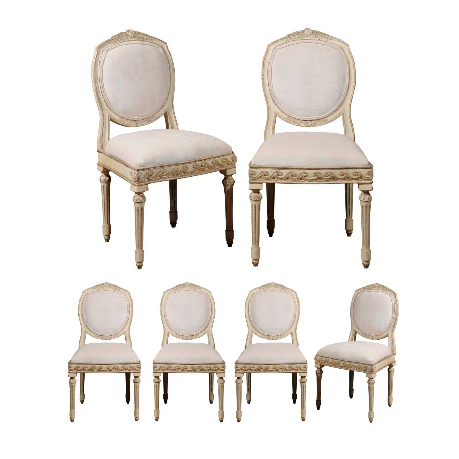 Silver Dining Chairs Set Of Six French Neoclassical Silver Gilt Dining Chairs With Vitruvian Scroll