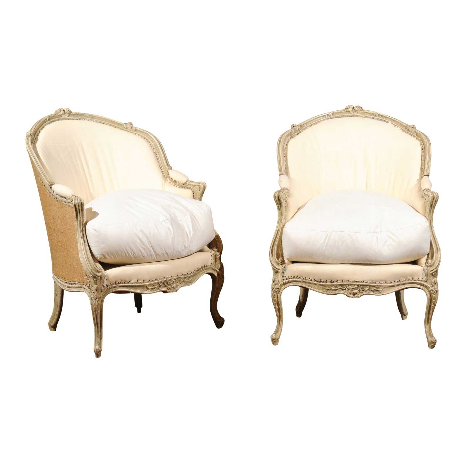 french bergere chair how much does a gaming weight pair of 18th century louis xv painted chairs with wraparound back foxglove antiques galleries