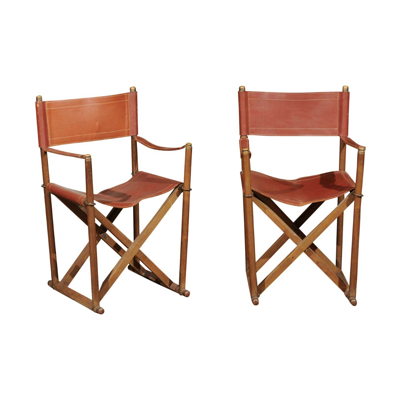 Safari Chairs Pair 1930 S Folding Campaign Style Leather Safari Chairs By Mogens Koch