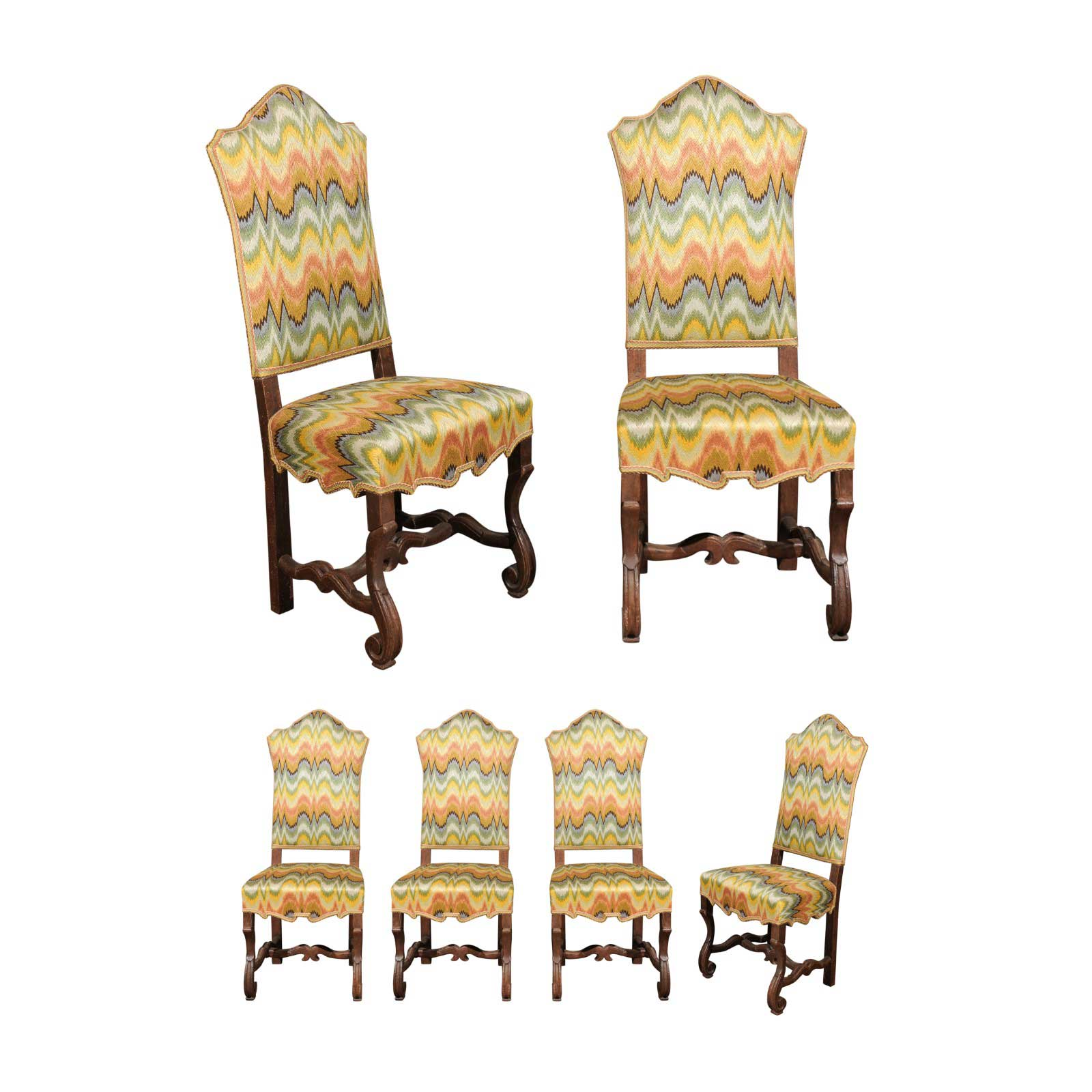 Italian Dining Chairs Italian Dining Chairs With Flame Stitch Upholstery Set Of 12