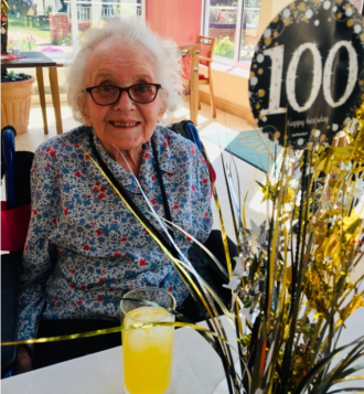 Avril celebrating her birthday at Foxholes Care Home