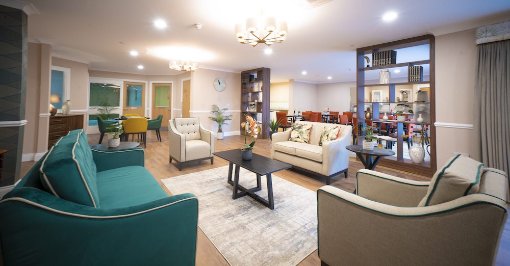 Comfortable care home environment with functional seating