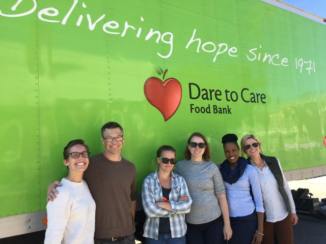 The team volunteering with Dare to Care