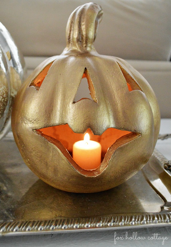Fall Halloween Pumpkin Makeover Gold Metallic