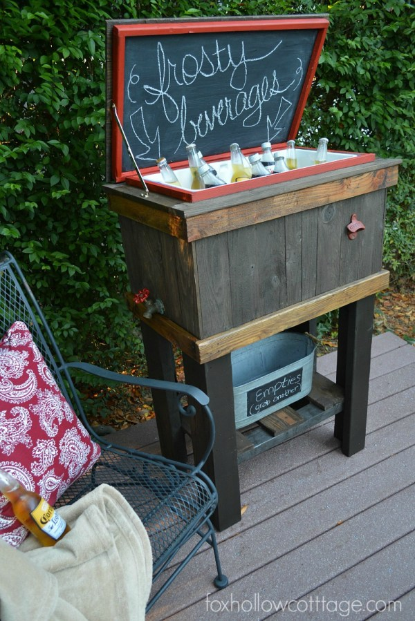 How to Build a Wood Deck Cooler by Fox Hollow Cottage