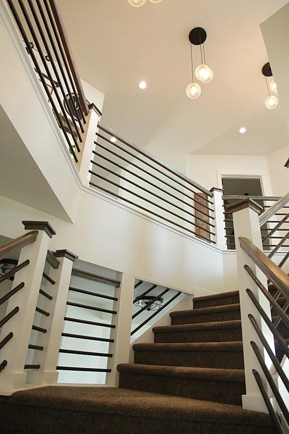 Modern Farmhouse Home Tour With Household No 6 | Modern Farmhouse Stair Railing | Contemporary | Design Small House | Simple 2Nd Floor Railing Wood Stairs Iron Railing Design | Vintage Farmhouse | Wire