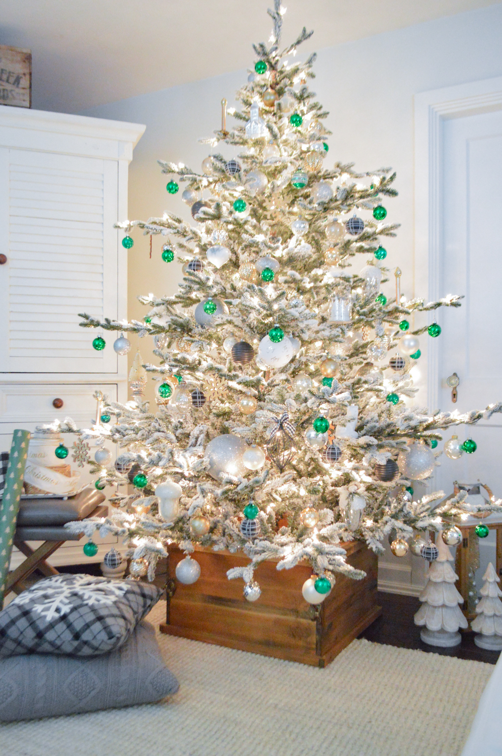 Lightly Flocked Natural Aspen Pine Christmas Tree in white gold green Fox Hollow Cottage www.foxhollowcottage.com 3
