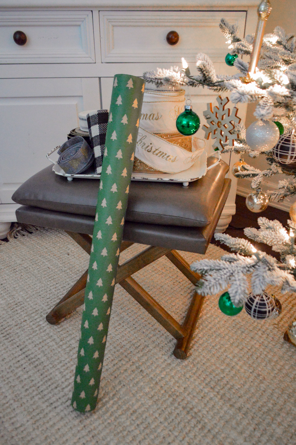 Lightly Flocked Natural Aspen Pine Christmas Tree in white gold green Fox Hollow Cottage www.foxhollowcottage.com 36