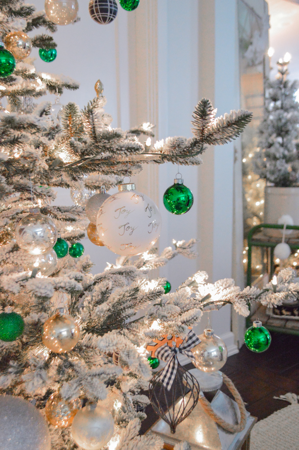 Lightly Flocked Natural Aspen Pine Christmas Tree in white gold green Fox Hollow Cottage www.foxhollowcottage.com 38