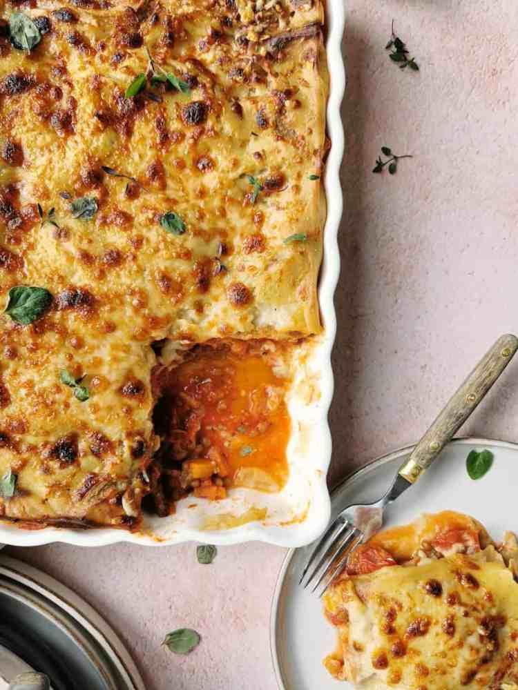 Vegetarische lasagne met veel groente