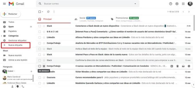 nueva etiqueta de gmail