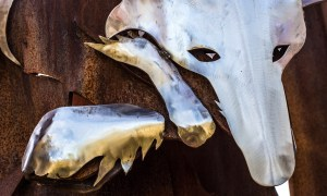 Iron and rust patina fox on Fox Runs gate