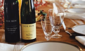 Fox Run Riesling and Cab Franc Lemberger on the Thanksgiving table