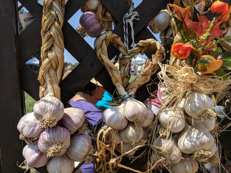 A garlic braid in the shape of a heard at the Garlic Festival