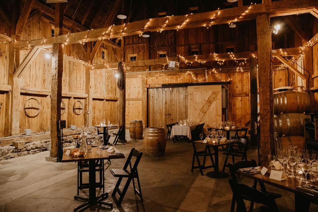 The historic barrel room at Fox Run Vineyards