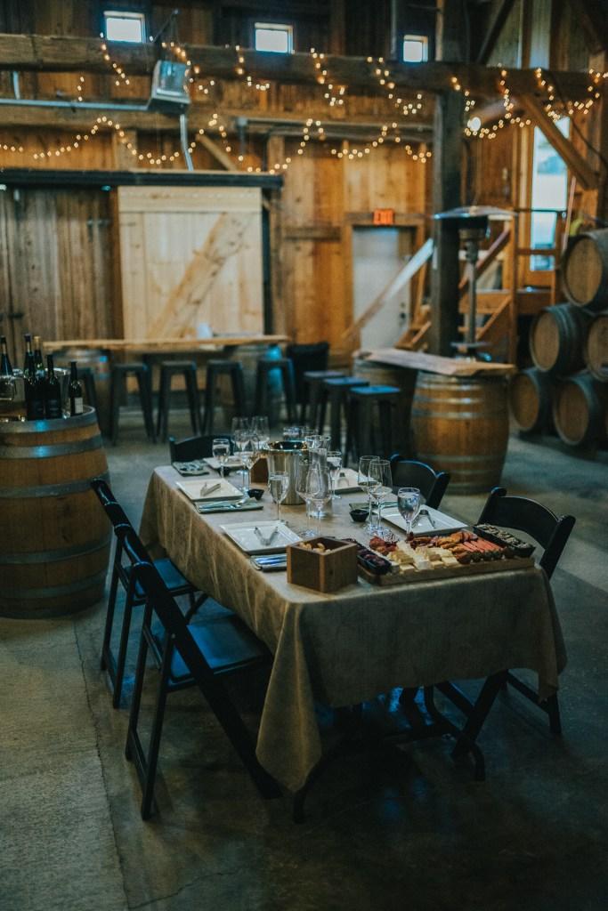 Fox Run VIP Tour set up in the historic barrel room