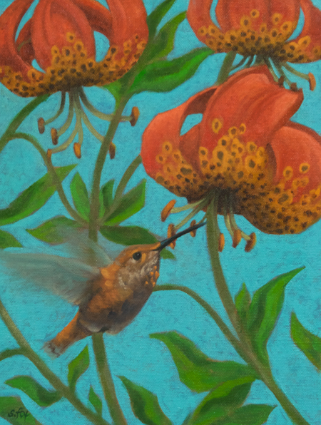 """Hummin' Along in the Leopard Lilies   oil  12""""x 9"""" (price on request)"""