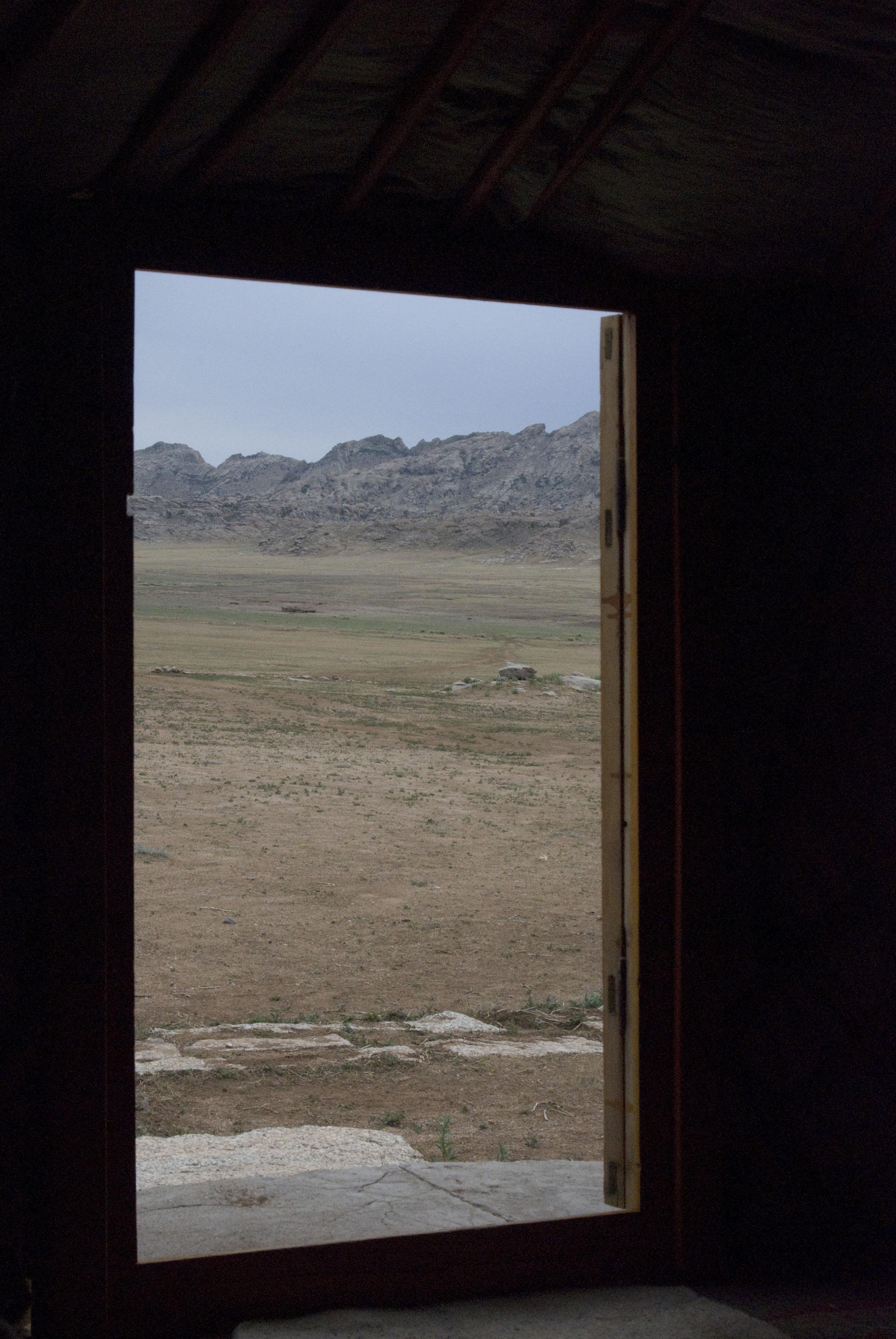 View throught the door of my ger